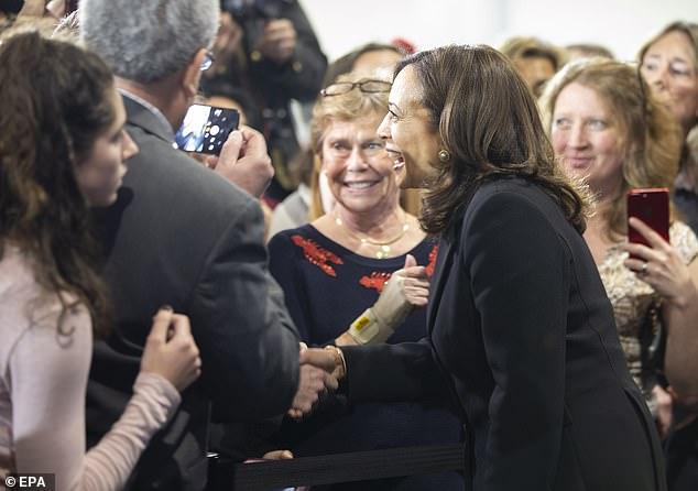 Harris greets supporters after her town hall meeting in New Hampshire