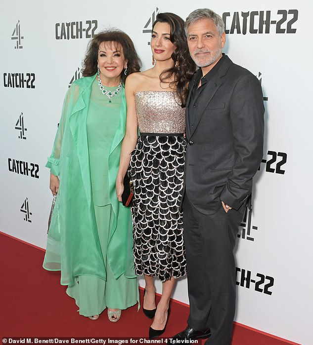 Rare outing: The Ocean's Eleven star, 58, and human rights lawyer, 41, made a rare red carpet appearance with Amal's mother Baria Alamuddin at the star-studded event