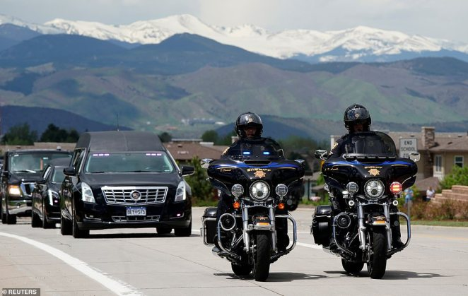 Castillo was also honored with a full police motorcade, the first formal motorcade ever given to a civilian by the Douglas County Sheriff's Office. Police are pictured here escorting the teen's hearse as it arrives for the service