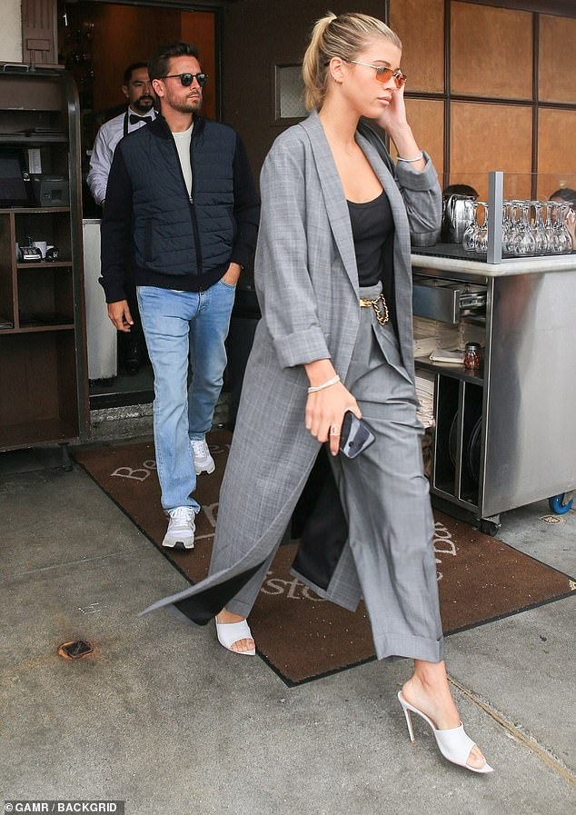 Together: For the second day in a row, Sofia Richie, 20, and Scott Disick, 35, spent time together in Beverly Hills on Wednesday, lunching at an Italian eatery and shopping