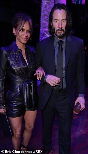 Pals: Halle and Keanu continued their fun-loving display indoors