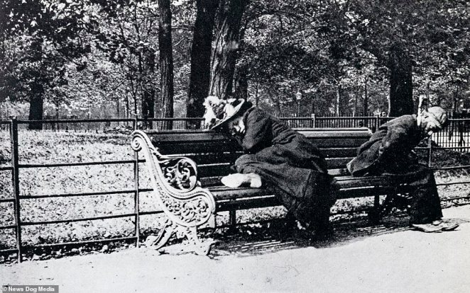 Other photographs show sad characters, such as these two people sleeping on a bench at St James's Park in the 1890s
