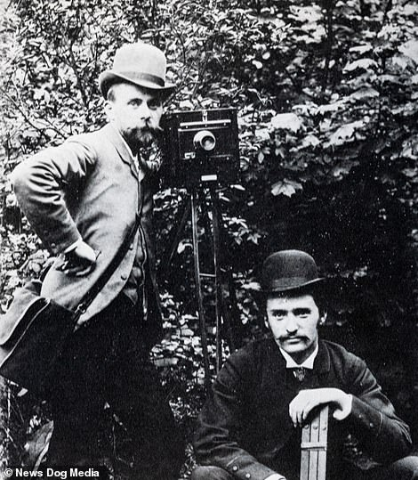 Victorian photographer Paul Martin (left) is pictured in the 1880s with a camera which was not the one he used to take his pictures