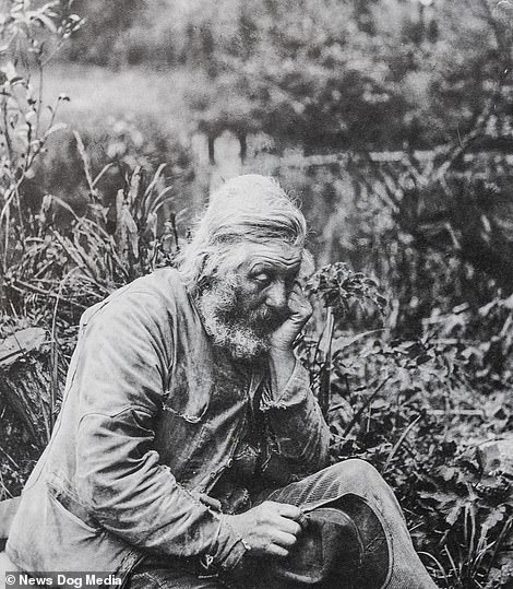 A picture captured in the 1880s entitled 'Old Surrey Tramp' shows a melancholic-looking man sat on the River Mole