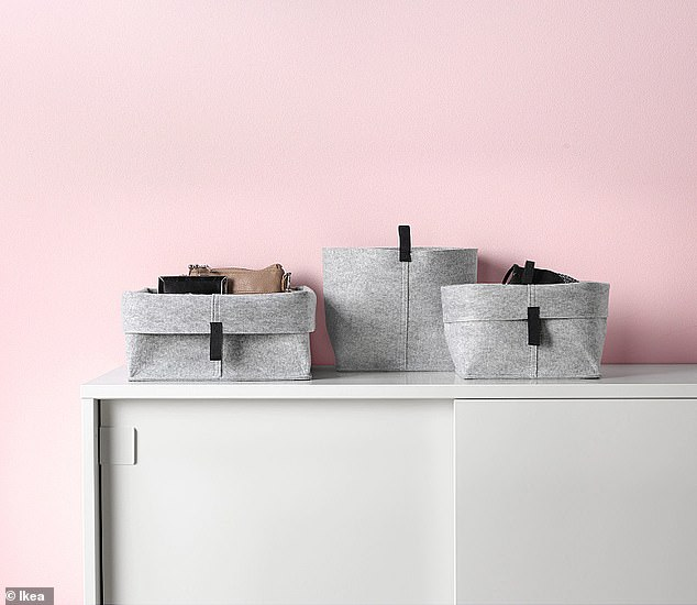 A system: 'Say goodbye to digging to find an item and hello to the magic of bins. Organizational bins can be used anywhere in the home.' Pictured:Raggisar (set of three), $5.99; ikea.com