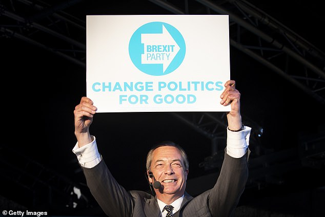 Farage shows off the party logo during a rally in Merthyr Tydfil, Wales, on Wednesday ahead of next week's European Parliament elections