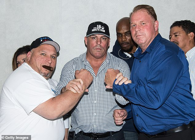 Thomas 'The Duke' Markle Jr (right) came face-to-face Wednesday night with Henry 'Nacho' Laun (left) at a press conference in Philadelphia for the traditional pre-fight face-off with boxing promoter Damon Feldman separating the two men