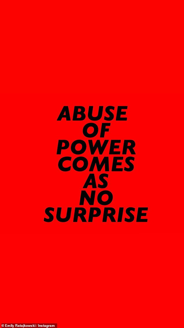 Louder: She also shared some sentiments across a bold red background: 'abuse of power comes as no surprise'