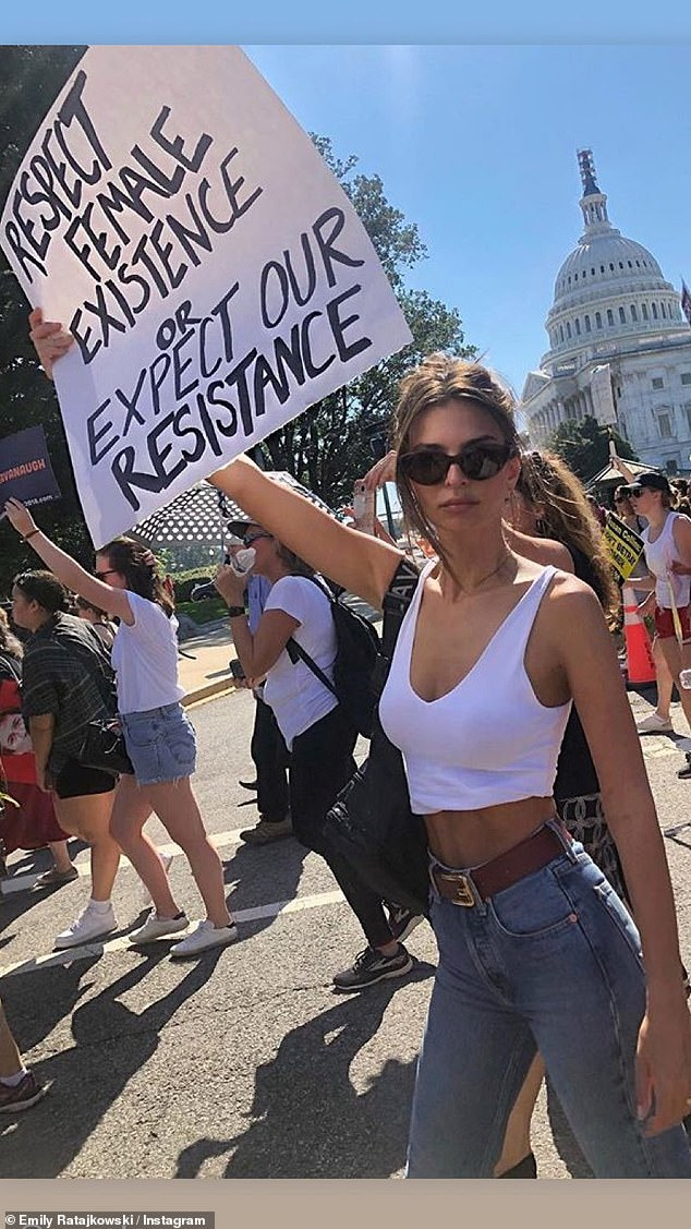 Respect female existence: Emily later shared a throwback photo on her story from when she joined hundreds of thousands of people to protest against Brett Kavanaugh's nomination to the Supreme Court in October