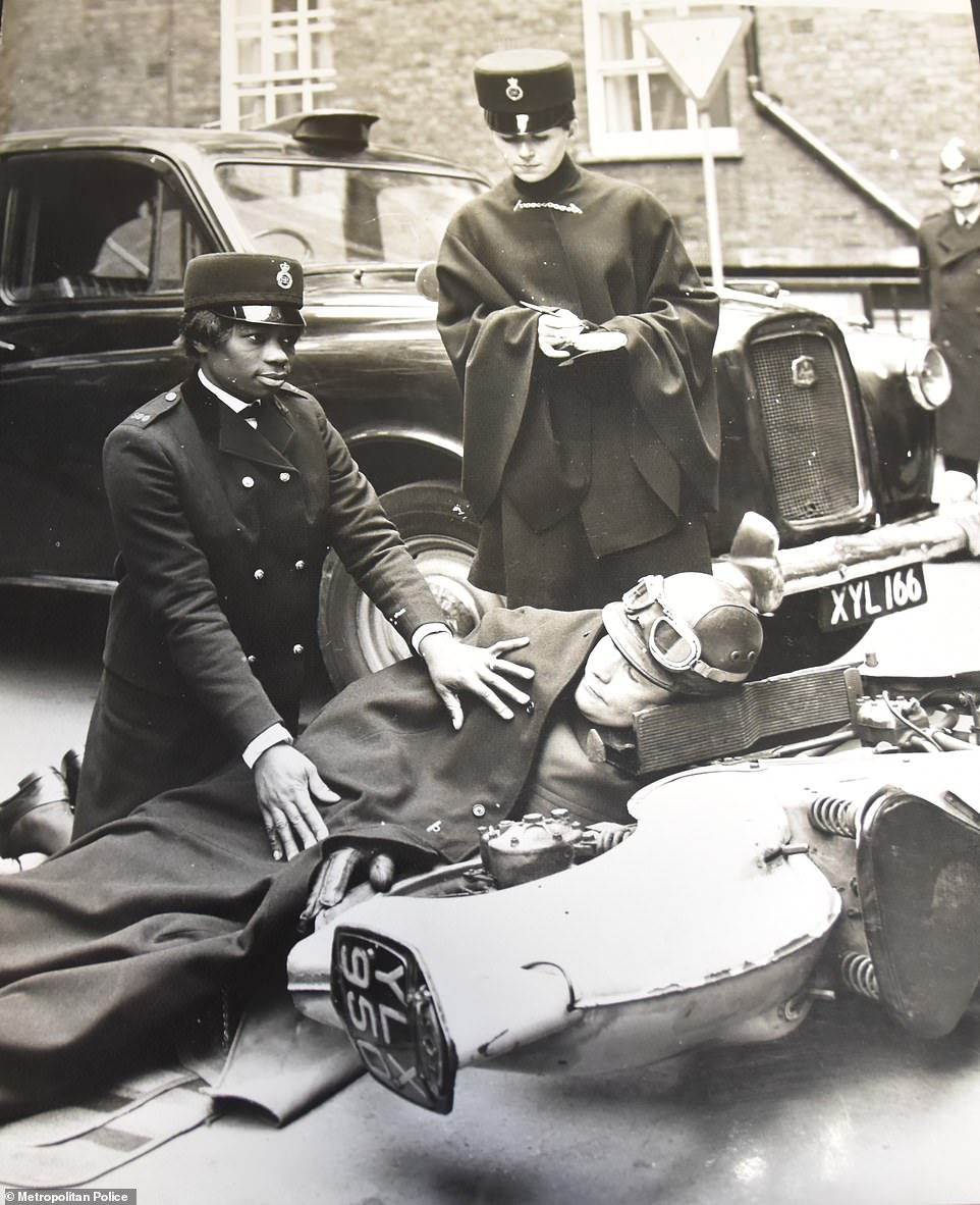 Ms Allen treating a recruit who was injured during treatment. She left the force in 1972 to move back to Jamaica where she joined the police force there until she moved back to England in 2015