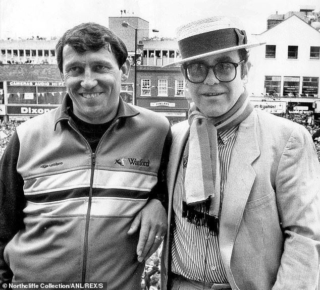 Chairman John pictured in London with Watford managerGraham Taylor (left) in May 1984