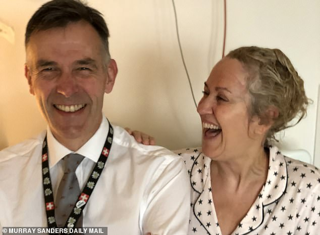 Nicki Chapman is pictured with her neuro-surgeon David Peterson two days after her operation to remove a golf ball sized brain tumour