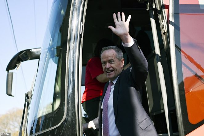 Opposition Leader Bill Shorten waves goodbye after casting his vote at Moonee Ponds West Primary school