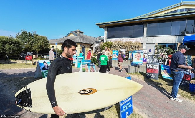 A man walks with his surfboard outside a polling station at Freshwater Surf Lifesaving Club on May 18, 2019 in Sydney, Australia
