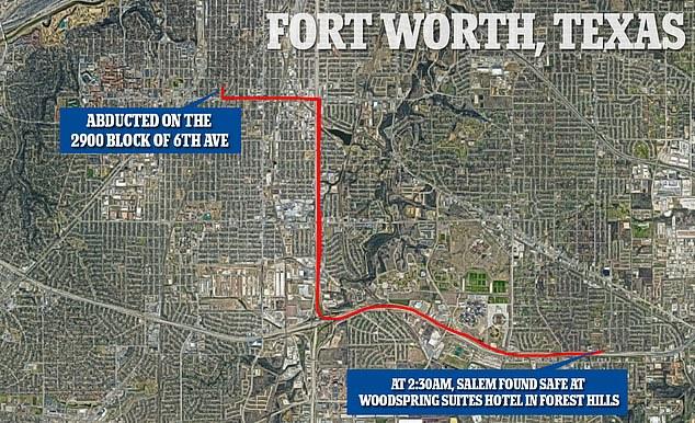 La carte ci-dessus montre les 13 km environ entre le lieu d'enlèvement de Salem vers 18h38 samedi et celui où elle a été retrouvée quelques heures plus tard dans une chambre d'hôtel.