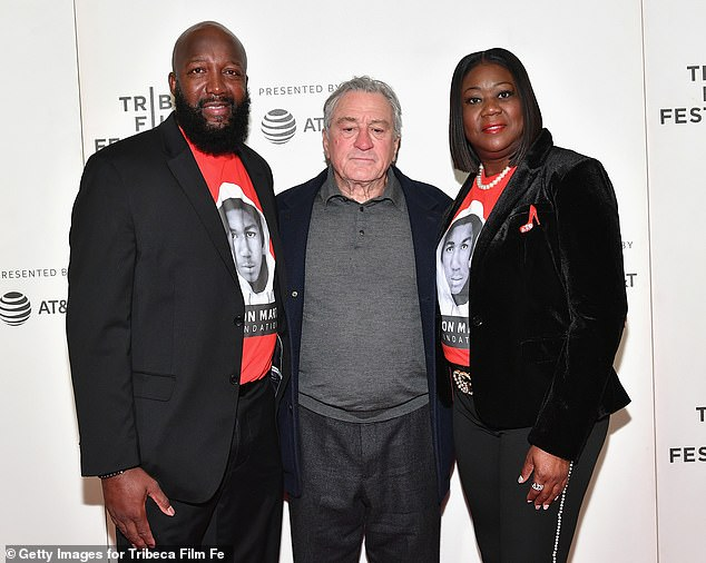 Trayvon Martin's parents Tracy Martin, left, and Sybrina Fulton attend the Tribeca TV screening of 'Rest in Power: The Trayvon Martin Story' at BMCC Tribeca in April 2018