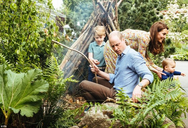 The Duke and Duchess of Cambridge with Prince George, Princess Charlotte and Prince Louisduring a sneak peek of Kate's stunning garden at the Royal Horticultural Society's Chelsea Flower Show on 20 May 2019