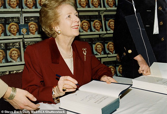 In 1993, Mrs Thatcher spoke at the Savoy Hotel about her memoir, The Downing Street Years. Above: In 1993 signing copies of her book at WH Smith's, in Sloane Square, London