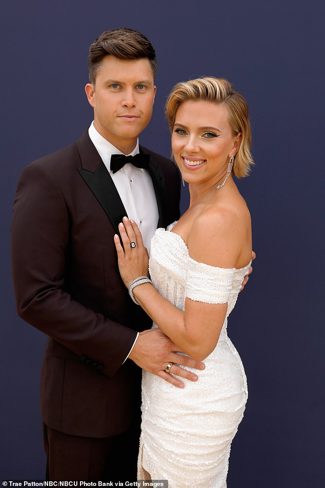 Engaged! Scarlett Johansson is set to marry her boyfriend of two years, Colin Jost (pictured Sept 2018)
