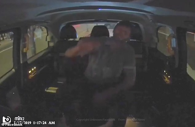 The footage shows the passenger ranting at the driver as they argue over the route he's taken