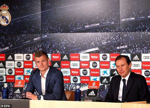 Image result for 'I like this player but nothing changes for me': Toni Kroos will 'fight' for his place if Paul Pogba joins Real Madrid... as Manchester United star does his best Uma Thurman impression