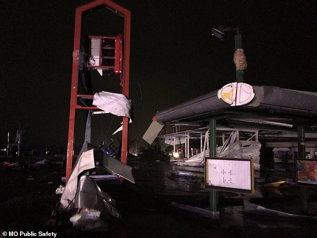 Authorities confirmed that several buildings had collapsed and photos from one structure appeared to be a Sonic restaurant
