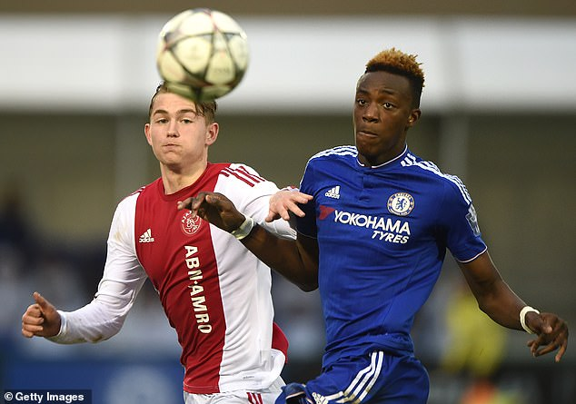 De Ligt pictured battling Chelsea's Tammy Abraham during a UEFA Youth League game in 2016