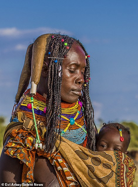A Mwila woman with her child
