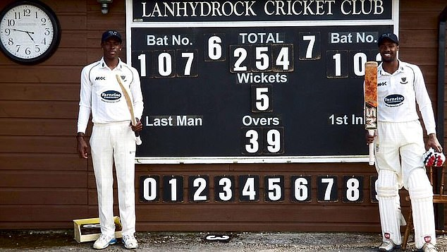 In 2015 Archer and fellow West Indian Akeem Jordan (left) scored tons for Two Hopes club side in Cornwall