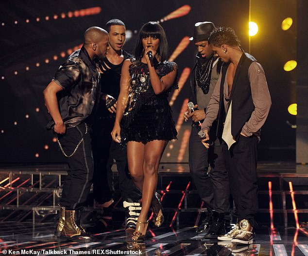 Friends: Alexandra Burke commented on Marvin's post to give her support for Oritsé (pictured above with JLS in 2009)