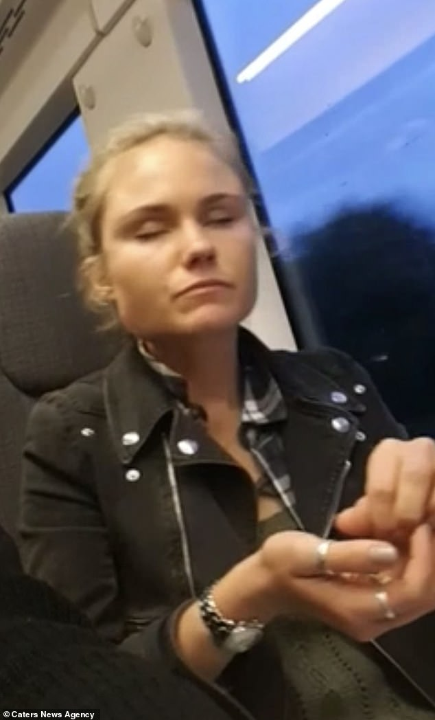 Miss Hutt, who now lives in Amsterdam, said she would very rarely go out on her own because when she is sleepy (pictured) she can sound drunk and her eyes will drop