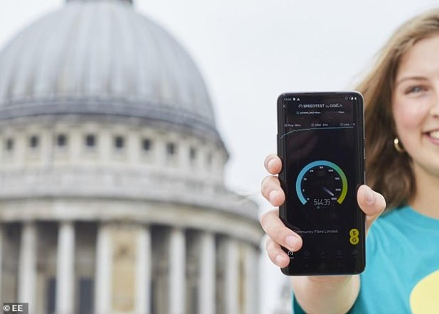 EE is planning to reach 1,500 sites by the end of 2019, including the 'busiest parts' of Bristol, Coventry, Glasgow, Hull, Leeds, Leicester, Liverpool, Newcastle, Nottingham and Sheffield (stock image)