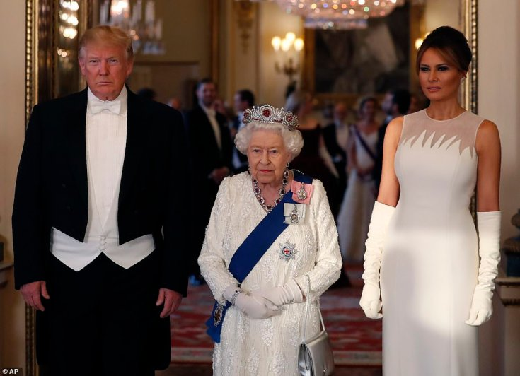 The First Lady of he United States wore a beautiful white gown from Dior's Spring 2019 collection to the state banquet in honour of her and her husband in Buckingham Palace