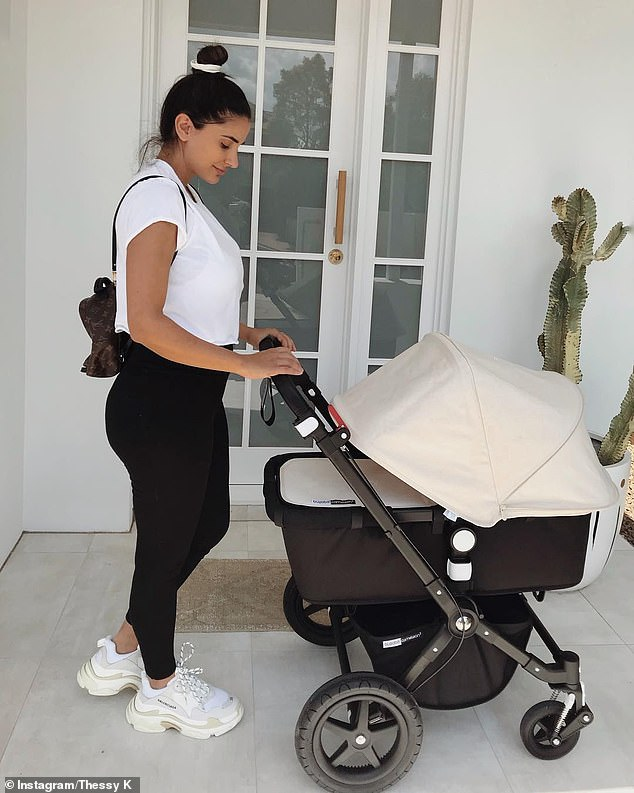 'I reached 75 kilos at the end of my pregnancy and I thought I'd never be in the 50s again... the weight I put on in pregnancy STUCK to me,' Thessy (pictured with her daughter) said