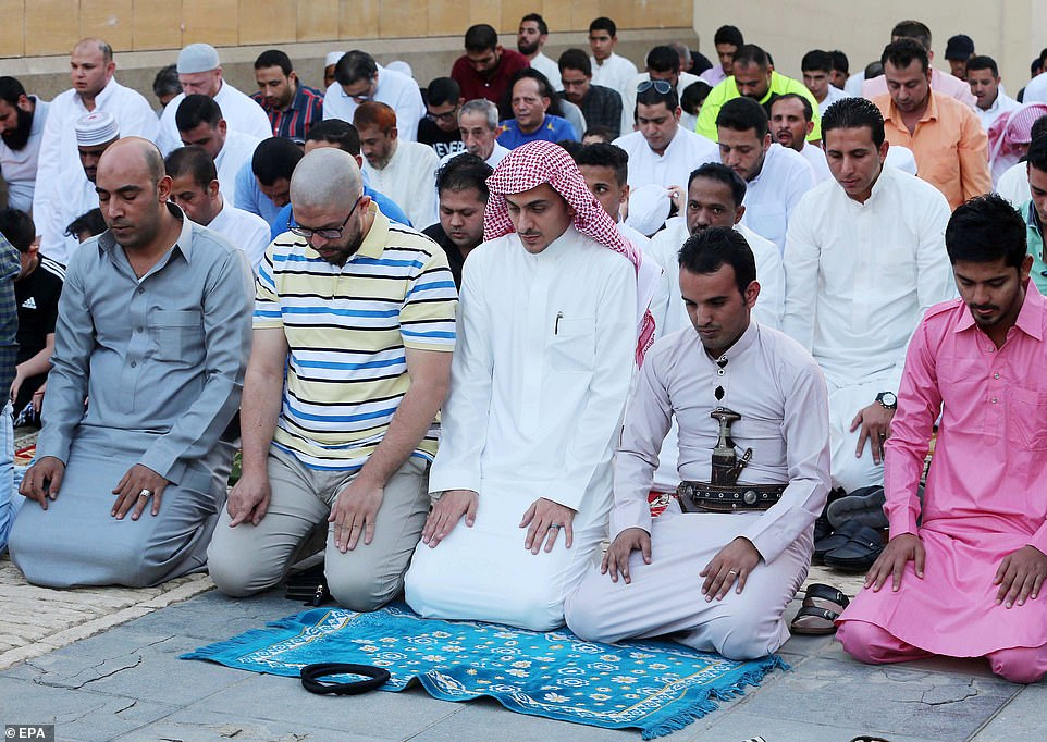 Worshippers at King Abdulaziz Historical Mosque in Riyadh, Saudi Arabia, were among those celebrating the start of Eid on Tuesday, while some other Middle Eastern countries will begin Wednesday