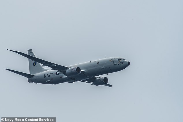 A US P-8A Poseidon aircraft (picture above in a file image) was involved in an 'unsafe' inverted maneuver by a Russian SU-35