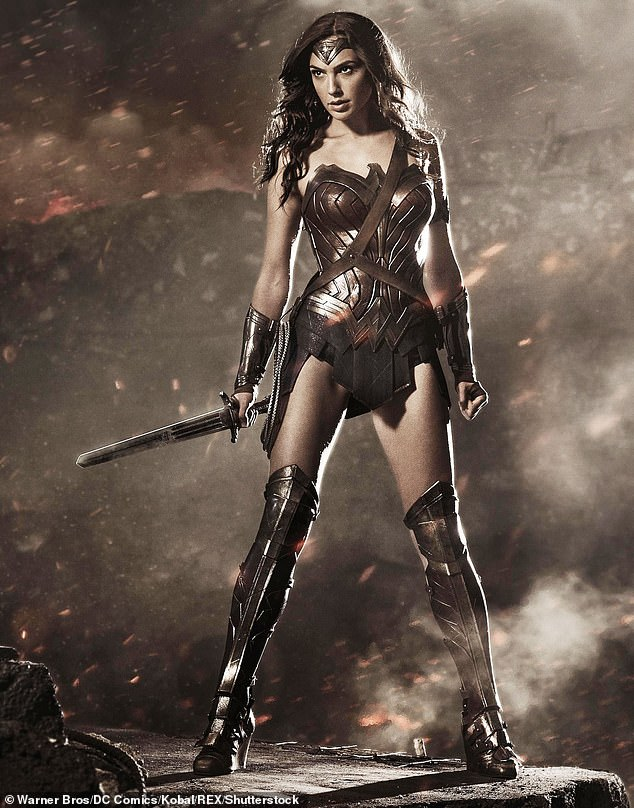 Battle ready: The super streamlined suit is a noticeable change from her first Wonder Woman costume, which depicted the heroine in the throws of WWI