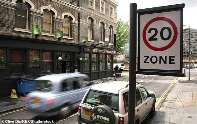 New limit: Every road within central London's Congestion Charge Zone will have a 20mph limit from Monday 2 March 2020, TfL has confirmed today