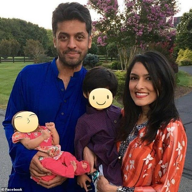Ali's wife, Sarah (right) called him a few days before his TED talk to alert him that there were suspicious bumps on the liver of their two-year-old daughter, Nusayaba (left, pictured with brother, Ibrahim, four)