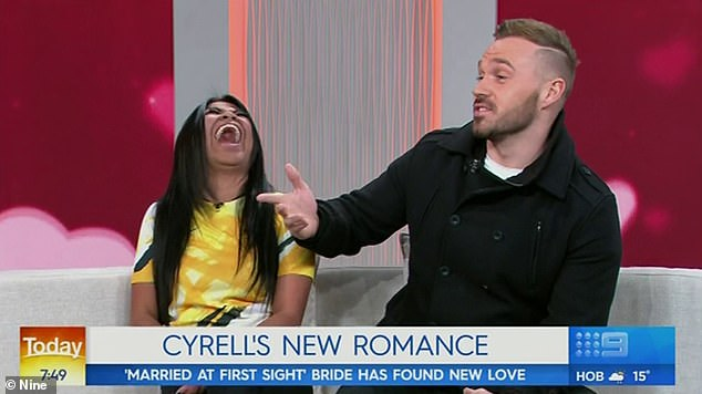Old news: Cyrell then appeared on Thursday's Today alongside her Love Island boyfriend Eden Dally, with host Georgie Gardner introducing the segment about her 'new romance'