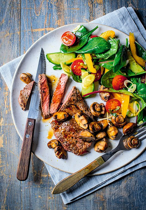 This glorious steak with colourful salad is an easy low-carb combination, packed with splendid flavours