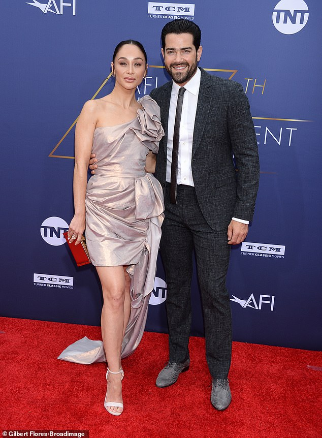 It takes two! Cara Santana wowed in metallic as her fiance Jesse Metcalfe worked a sharp suit