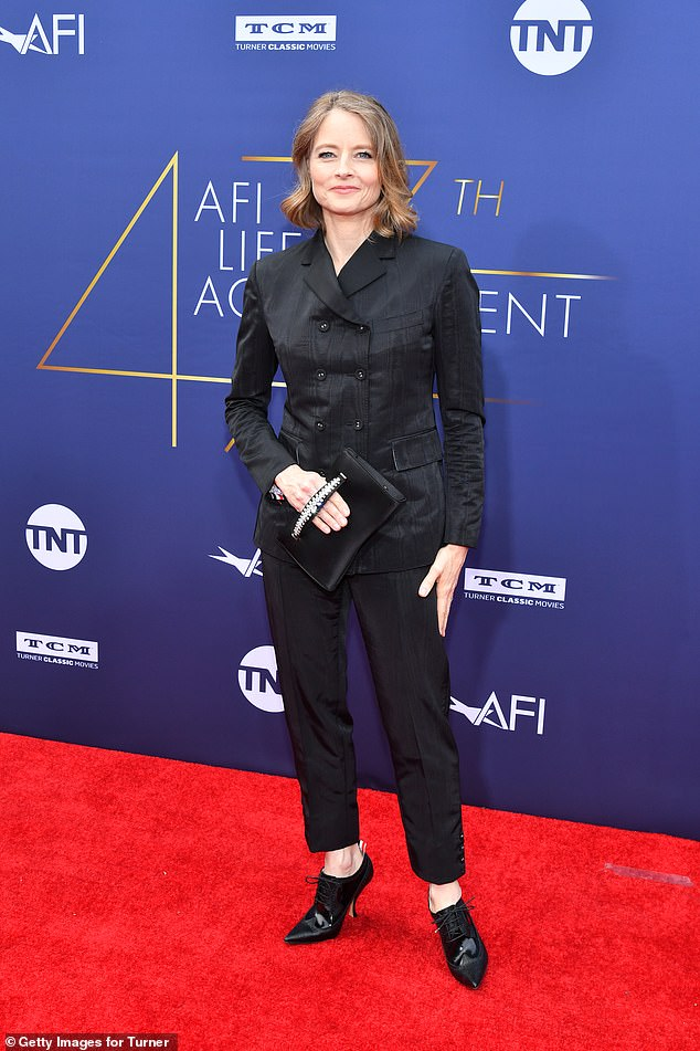 Looking good! Jodie Foster rocked a black blazer, cropped trousers, and eye-catching shoes