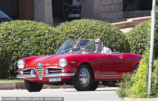 Honeymoon: The newlyweds looked in their element as they drove the rented vehicle around in the sunshine
