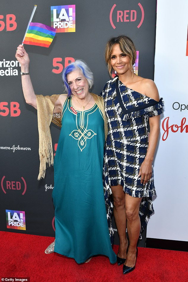 Terrific: Halle Berry posed with Nurse Alison Moed Paolercio at the Los Angeles Pride Premiere of the documentary 5B this Friday