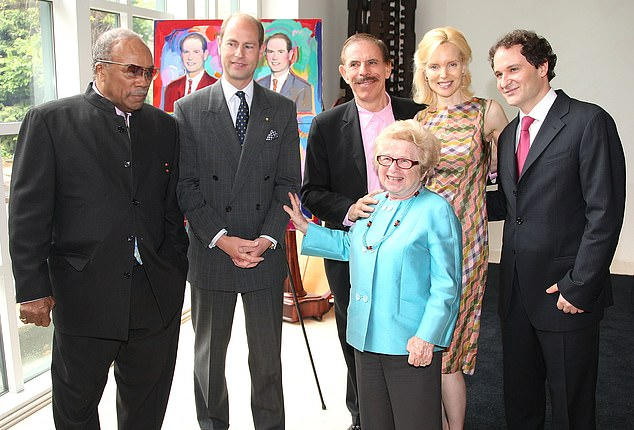 Mary (second right) and Peter (third right) with Britain's Prince Edward, Earl of Wessex (second left) and music mogul Quincy Jones (left) at the Duke of Edinburgh Award Luncheon in New York in 2009. Also pictured, sex therapist Dr Ruth Westheimer (front) andevent host David Hryck