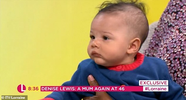 Happy:Denise also explained that she's been able to bring her son along to some of her work commitments since giving birth, and the tot looked right at home throughout the interview