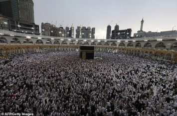 Thousands of Muslim worshippers gather at the Great Mosque of Mecca, which surrounds the Kaaba, Islam's holiest shrine, during the annual pilgrimage, which is known as Hajj