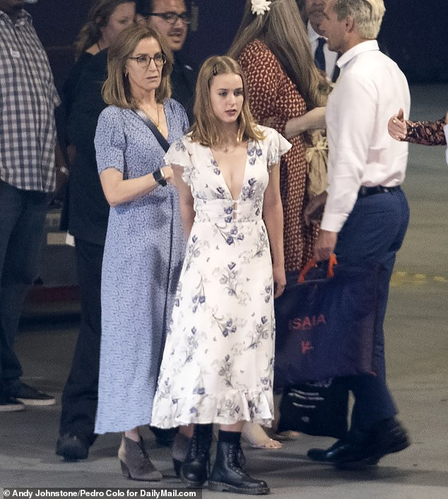 Mother and daughter: Felicity Huffman is seen outside the Dolby Theatre in Hollywood with her daughter Sophia, who will not be attending college right away