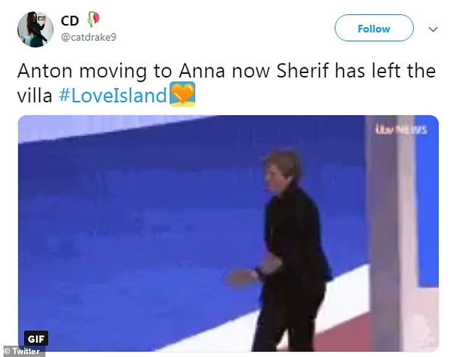 Shocker:One user hilariously shared the now-famous video of Teresa May in October at the Conservative Party dancing to Abba's Dancing Queen